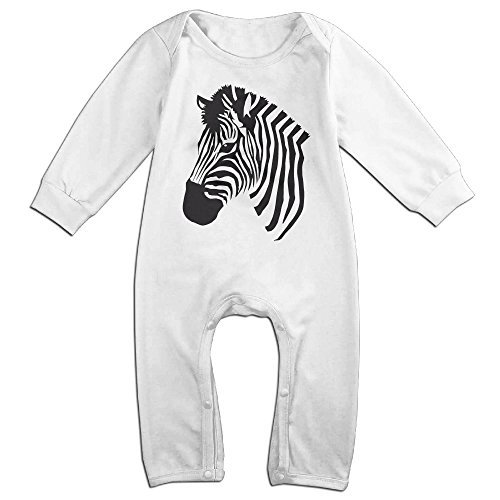 Nuo Beike Infant Baby Boys Girls Cartoon Zebra Print Baby Onesies Bodysuit Playsuit 12 Months White