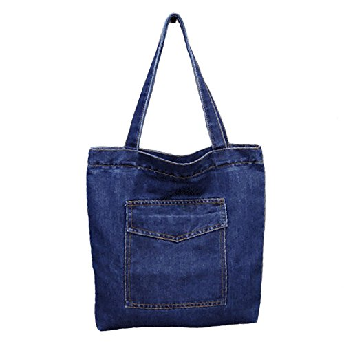 Mfeo Women's Soft Jeans Cloth Bags Casual Handbag Tote Bag Simple Bags (A)