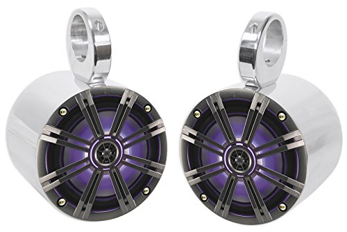 "Pair KICKER 43KM654LCW 6.5"" 390w Marine Wakeboard Tower Speakers w/LED Lights"