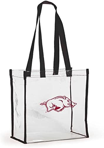 Desden Open Top Stadium Tote Clear with Long Handles for Arkansas Razorbacks Fans.