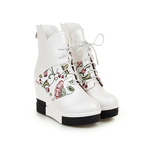 Allhqfashion Women's Round Closed Toe Assorted Color Low Top High Heels Boots White bkh9TpRE