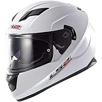 LS2 Stream Solid Full Face Motorcycle Helmet With Sunshield (White, Medium)