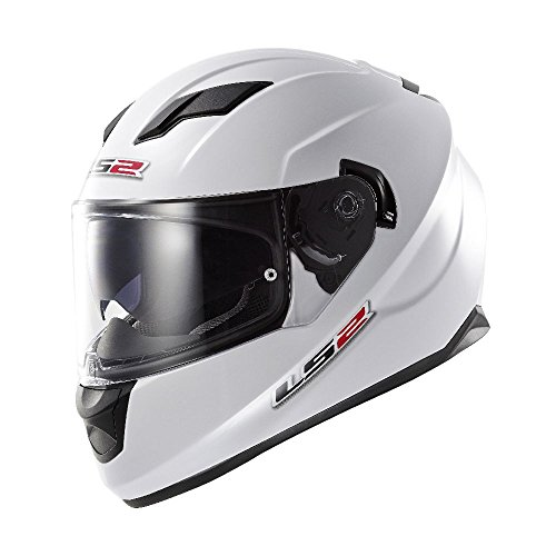 LS2 Stream Solid Full Face Motorcycle Helmet With Sunshield (White, Large)