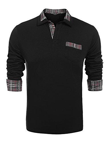 COOFANDY Men's Classic Casual Long Sleeve Plaid Collar Polo Shirt, A-long Sleeve Black, Medium - Classic Collar Shirt