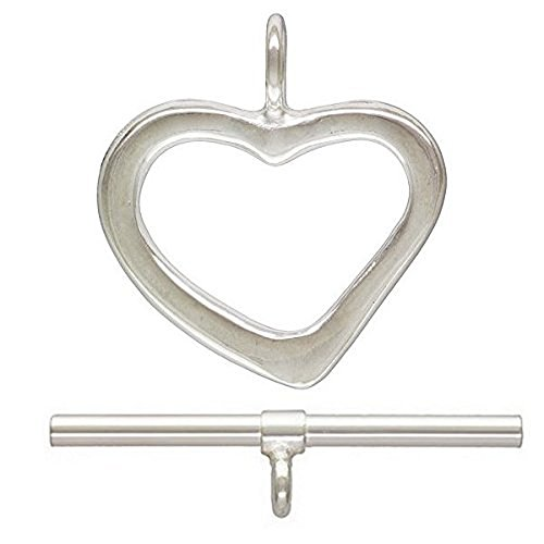 JensFindings 3 qty. Heart Toggle Clasps, .925 Sterling Silver: Bar (1.5mmx22mm) & Ring (1.5x12mm) By