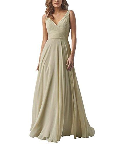 Yilis Double V Neck Elegant Long Bridesmaid Dress Chiffon Wedding Evening Dress Champagne US8