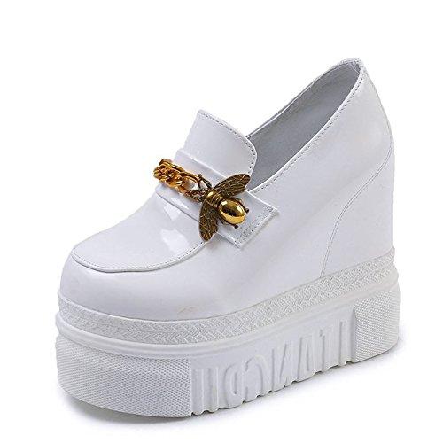 Ajunr Moda/elegante/Transpirable/Sandalias Ajunr Moda/elegante/Transpirable/Sandalias suela gruesa muffin ocio cuñas Calzado zapatos aumentado 12cm Super High Heels white