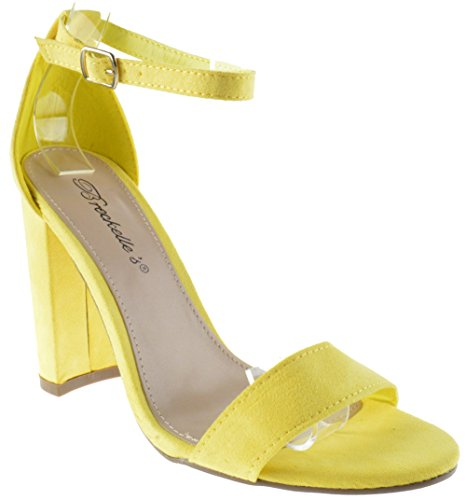 Breckelles Devie-02 Womens Open Toe Ankle Strap Chunky Heel Sandals Yellow 1qsi8MVW