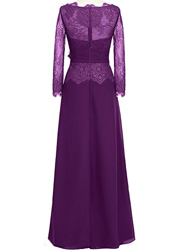 Bridal Amore Floral Long s Formal Lace Evening Party Purple Dress Sleeves Women dTwwqC