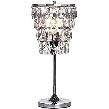 Popilion chrome raindrop crystal table lamp elegant desk - Elegant table lamps for living room ...