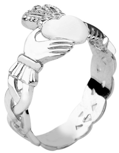 10k-White-Gold-Mens-Claddagh-Ring-with-Trinity-Band