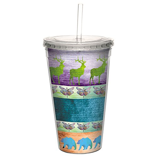 Tree-Free Greetings CC98668 Cool Cups, Double-Walled PBA Free with Straw and Lid Travel Insulated Tumbler 16 Ounces Color Block Elk