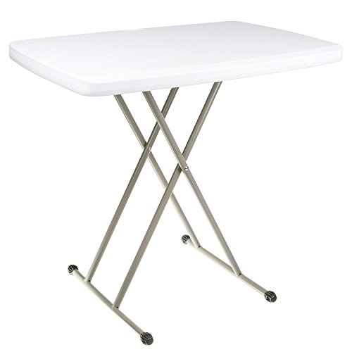Adjustable Folding Table – 20 X 30 Inches – For Indoor and Outdoor Use, White Resin Tabletop with Sturdy Steel Frame – Lightweight, and Portable – by Ontario Furniture