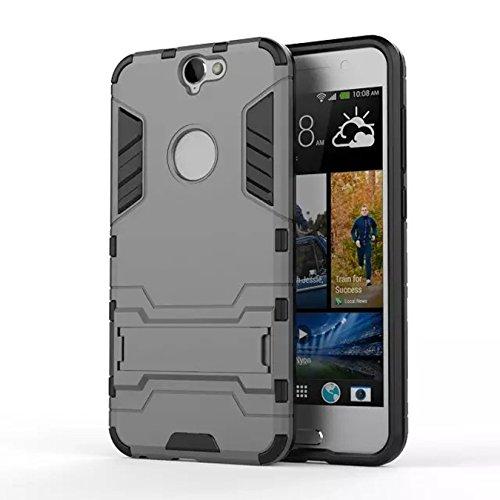 HTC M10 Funda, Litastore Combo Híbrido Resistente los Golpes Delgada Armadura Defensor TPU Parachoques Soporte para HTC M10 - Azul Gris