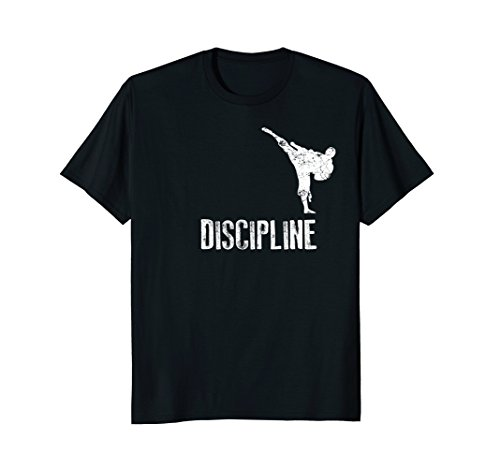 Mens Karate Shirt, Discipline Cool Martial Arts Gift Medium Black