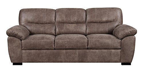Emerald Home Furnishings Nelson Almond Brown 92'' Sofa with Faux Leather Pillow Top Back & Padded Arms