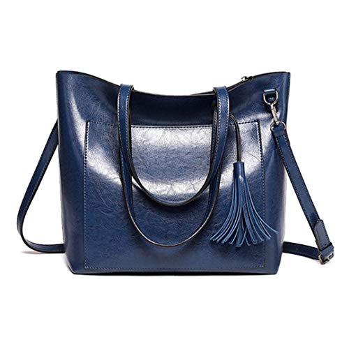 tracolla Cuoio Stile morbida Donna Borse per Cuoio Nero Tinta semplice blu unita capienza Grande borse a 5UxqH
