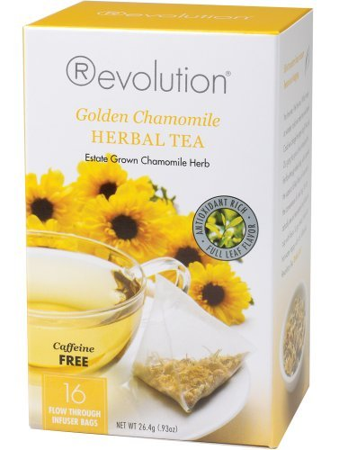Revolution Tea, Golden Chamomile Herbal Tea (Caffeine Free), 16 Flow-through Infuser Bags in a Stay-Fresh Container