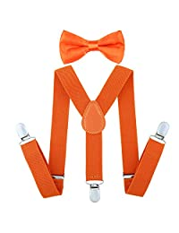 Child Kids Suspenders Bowtie Set - Adjustable Length 1 Inches Suspender with Bow Tie Set for Boys and Girls (Fluorescent Orange)