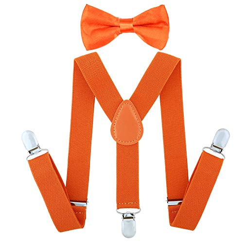 Child Kids Suspenders Bowtie Set - Adjustable Suspender Set for Boys and Girls (Fluorescent Orange, 30Inches (6 Years to 5 Feet Tall)