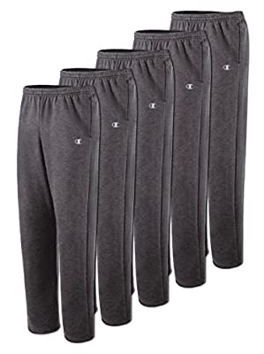 Champion P2469 Men's Open Bottom Fleece Sweatpant-Granite Heather 5 Pack-Medium