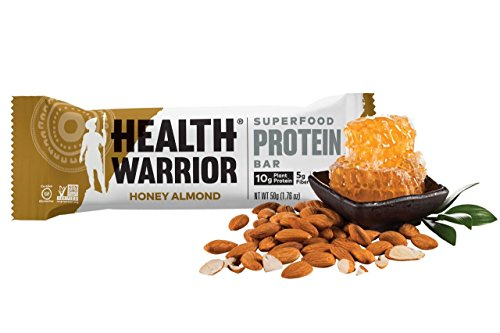 HEALTH WARRIOR Superfood Protein Bars, Honey Almond, Plant-Based Protein, 50g bars, 12 count