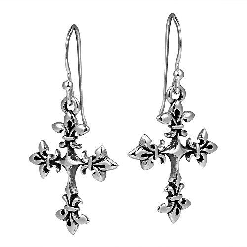 Renaissance Fleur de Lis Cross .925 Sterling Silver Dangle Earrings