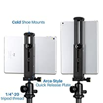Ulanzi Aluminum iPad Tripod Mount with Cold Shoe Mount,Metal Tablet Tripod Adapter Holder with Quick Release Plate and 1/4 Screw Mount Universal for iPad Mini/iPad 4/iPad Pro/Surface Pro