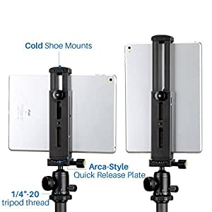 Ulanzi Aluminum iPad Tripod Mount with Cold Shoe Mount,Metal Tablet Tripod Adapter Holder with Quick Release Plate and 1/4'' Screw Mount Universal for iPad Mini/iPad 4/iPad Pro/Surface Pro