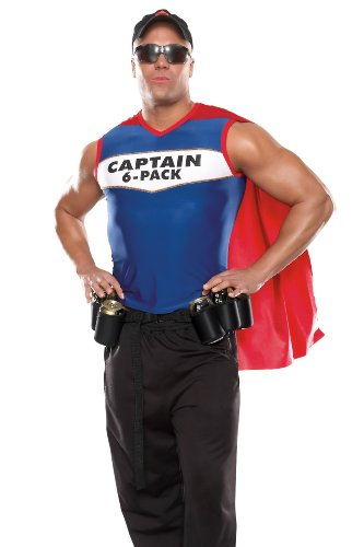 Coquette Captain 6 Pack Adult Costume Blue (Captain 6 Pack Halloween Costume)