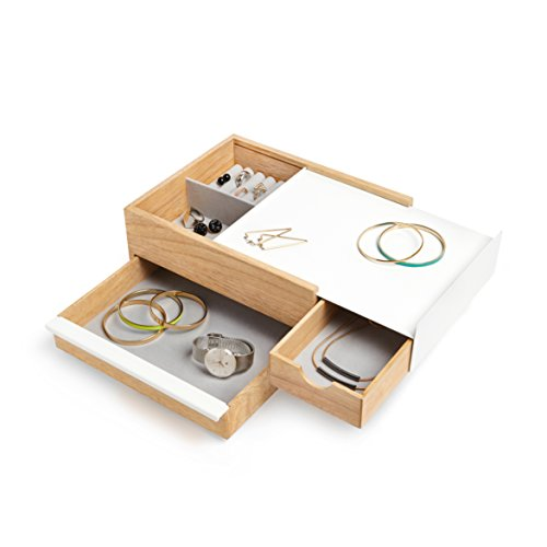 Umbra Stowit Jewelry Box - Modern Keepsake Storage Organizer with Hidden Compartment Drawers for Ring, Bracelet, Watch, Necklace, Earrings, and Accessories (White/Natural)