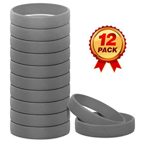 Go Party USA Rubber Bracelets (Grey, Adult)