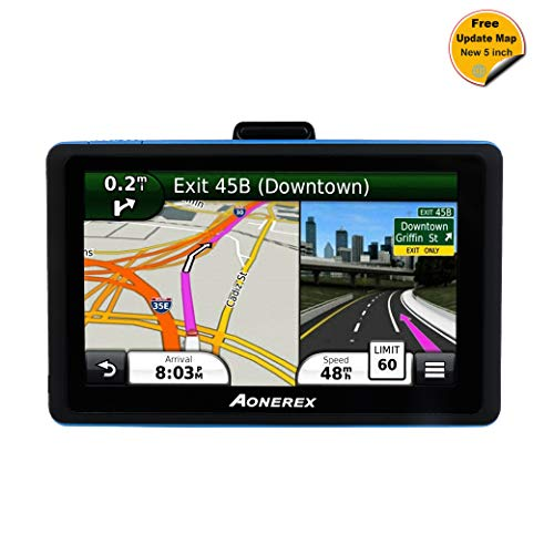 Cheap GPS Navigation AONEREX (5 inch/8GB) Vehicle GPS Navigation System with Lifetime Maps/Traffic, Navigation System Post Code, POI Search Speed Camera Alerts