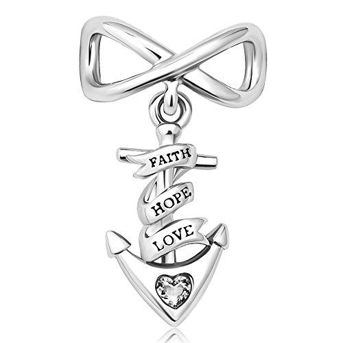 Love Charm Hope Heart Faith - Heart of Charms Faith Hope Love Charms Anchor Charms Infinity Charms Beads for Snake Chain Bracelets (white)
