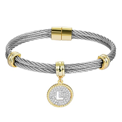 (BIJOUX BOBBI [Luxury Packaging Alphabets Cubic Zirconia Twisted Wire Initial Bracelets - A4168BXK-L)