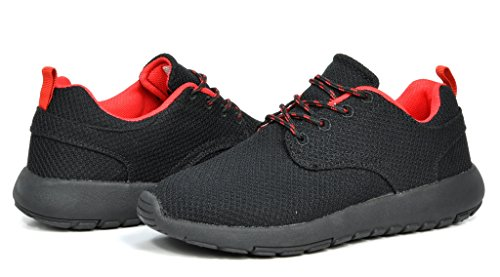 DREAM PAIRS RUN-PRO Men's New Light Weight Go Easy Walking Casual Athletic Comfortable Running Shoes Sneakers Black/Red Size 7.5