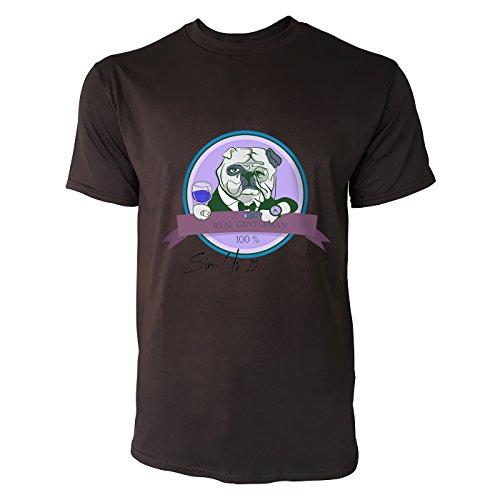 SINUS ART® Bulldogge mit Glas Real Gentleman 100% Herren T-Shirts in Schokolade braun Fun Shirt mit tollen Aufdruck