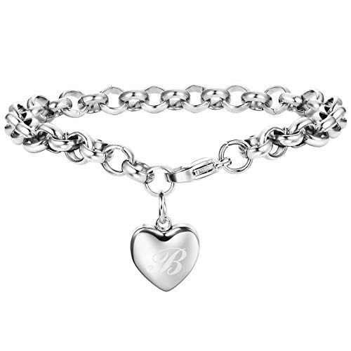 Adramata Rose Gold Silver Personalized Initial Bracelets for Women Girls Customized Heart Cute Ankle Bracelets Adjustable B