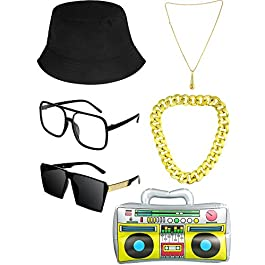 80s/ 90s Hip Hop Costumes Accessories Bucket Hat DJ Sunglasses Faux Gold Chain Inflatable Boom Box