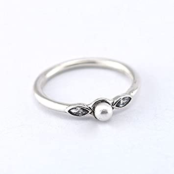 68264054b Compatible with Jewelry 925 Sterling Silver Ring Petite Luminous Leaves  with White Pearl & Clear Cubic