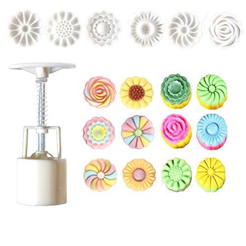 (Lautechco Flower Mooncake Mold Hand Pressure Mould 1 Barrel 6 Stamps)