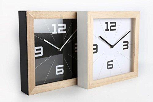 Square Contemporary Retro Natural Wood Black or White Mantle Clock (White) SIL