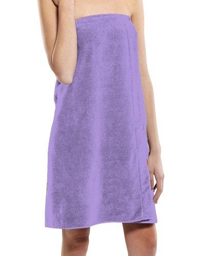 Womens Cotton Bath Wrap, Lavender Color, XXL Size