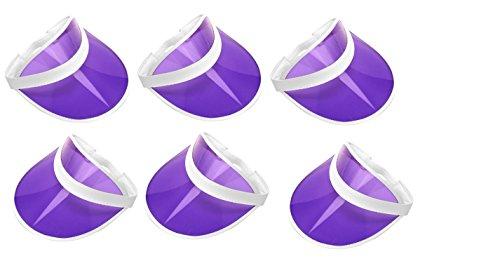 (Retro Tennis Beach Plastic Sun Visors Hats, (Pack of 6), Purple, One Size)