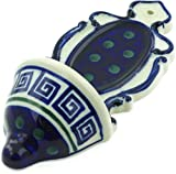 Polish Pottery 7¾-inch Wall Pocket (Greek Key Theme) + Certificate of Authenticity