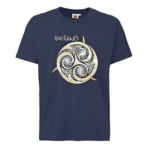- Navy Round Neck T-shirt With Celtic Spiral Design With Ireland Text