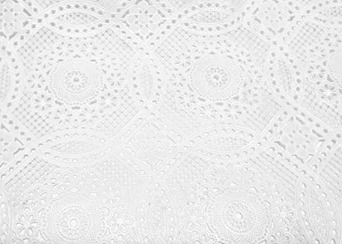 Vinyl Lace Shelf, Cabinet, Pantry Liner or Table Runner, with Scallop Trim and Design, Cut to Size. Easy Clean, Stain Resistant, Measures 17x72 Inches, White ()