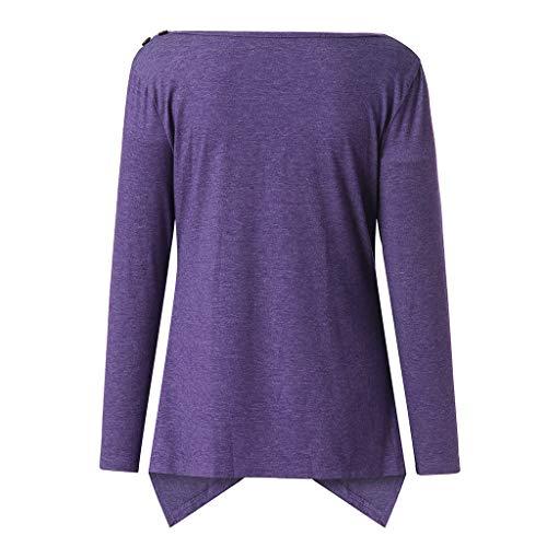 Needra Suelto Casual Ropa Purple De manga Para Punto Básica Suéter Cálido Blusa Mujer Larga Invierno Otoño Camiseta Túnica Prendas Jerseys Tops rA0YPqwr