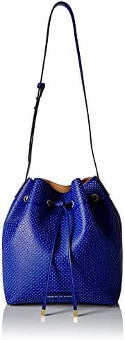 A|X Armani Exchange Perforated Pebble Pu Bucket Bag