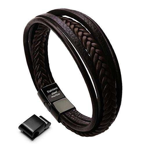 murtoo Mens Cowhide Leather Braided Bracelet Magnetic-Clasp Multi-Layer Wrap Bracelet, 8.7 inch(Brown) from murtoo